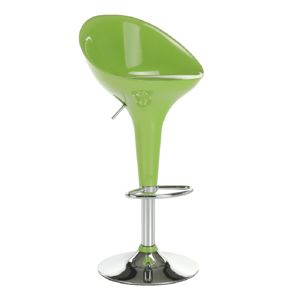 TEMPO KONDELA Barová stolička, zelená/chróm, ALBA NOVA