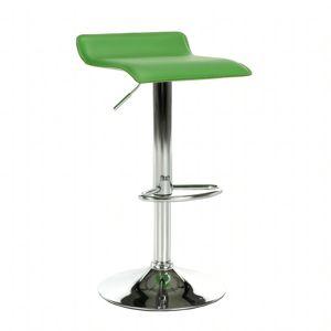 TEMPO KONDELA Barová stolička, ekokoža zelená/chróm, LARIA New