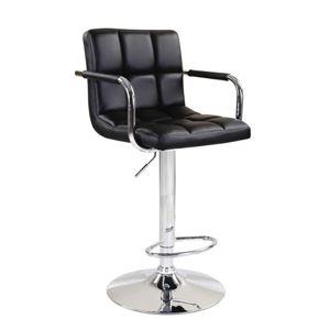 TEMPO KONDELA Barová stolička, čierna ekokoža/chróm, LEORA 2 NEW