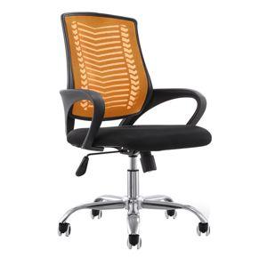 TEMPO KONDELA Kancelárske kreslo, oranžová/čierna/chróm, IMELA TYP 2