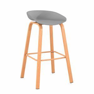 TEMPO KONDELA Barová stolička, sivá/prírodná, BRAGA