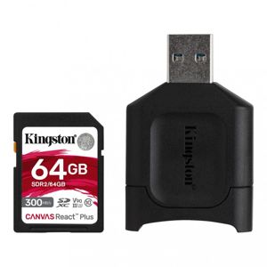 64GB SDHC Kingston Canvas React Plus  UHS-II V90 + čtečka