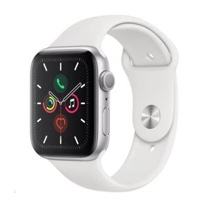 APPLE WATCH SERIES 5 GPS, 44MM SILVER ALUMINIUM CASE WITH WHITE SPORT BAND - S/M & M/L, MWVD2HC/A