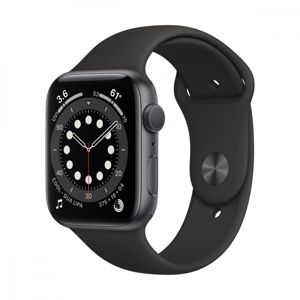 APPLE WATCH SERIES 6 GPS, 40MM SPACE GRAY ALUMINIUM CASE WITH BLACK SPORT BAND MG133VR/A