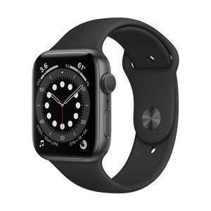 APPLE WATCH SERIES 6 GPS, 44MM SPACE GRAY ALUMINIUM CASE WITH BLACK SPORT BAND M00H3VR/A