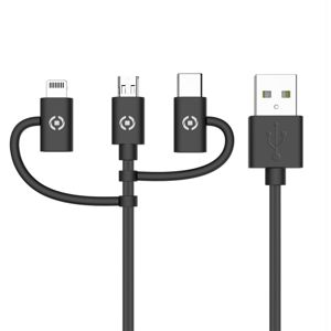 CELLY UNIVERZALNY USB KABEL 3V1 (MICRO, LIGHTNING, TYPE-C) ,1M, CIERNY