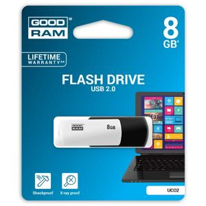 Goodram USB flash disk, 2.0, 8GB, UCO2, čierny, UCO2-0080KWR11, podpora OS Win 7