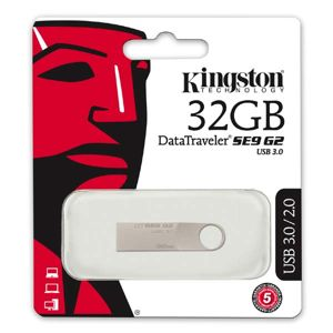 Kingston USB flash disk, 3.0, 32GB, Data Traveler SE9, strieborný, DTSE9G2/32GB, kovový
