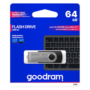 Goodram USB flash disk, 3.0, 64GB, UTS3, čierna, UTS3-0640K0R11