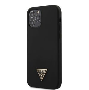 GUESS GUHCP12MLSTMBK GUESS SILICONE METAL TRIANGLE ZADNÍ KRYT PRO IPHONE 12/12 PRO 6.1 BLACK