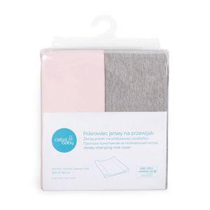 CEBA Poťah na prebaľovaciu podložku 50 x 70-80 cm 2 ks Light Grey Melange+Pink