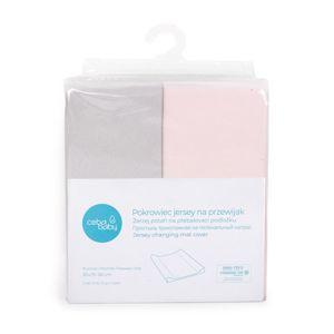 CEBA Poťah na prebaľovaciu podložku 50 x 70-80 cm 2 ks Light Grey+Pink